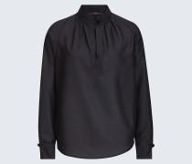 Bluse mit Seide in Schwarz