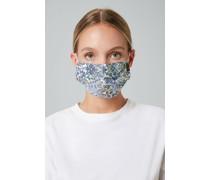Mund-Nasen-Maske Pleats in Weiß-Navy-Grün