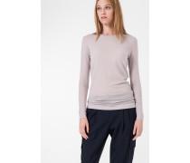 Melierter Jersey-Pullover in Perl-Grau
