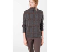 Pullover mit Karomuster in Grau/Braun