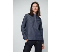 Jeans-Bluse aus Organic-Stretch-Denim in Navy