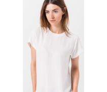 Shirt mit Seidenanteil in Creme-Weiß
