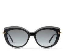 Clea Cat-Eye Sonnenbrille in Schwarz und Rosa mit grau getönten Gläsern