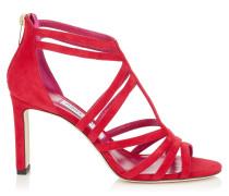 Selina 85 Sandalen aus rotem Wildleder