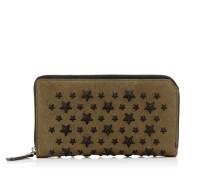 Carnaby Reisebrieftasche aus Biker-Leder in Olive mit schwarzen Sternen