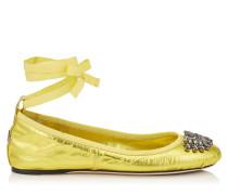 Grace Flat Ballerinas aus gelbem Nappaleder in Metallic-Optik mit Schleife