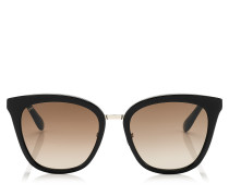 Fabry Cat-Eye Sonnenbrille aus schwarzem Acetat mit Glitzerdetails