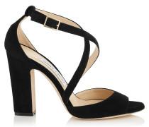Carrie 100 Peeptoe-Sandalen aus schwarzem Wildleder