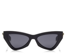 Donna Cat-Eye Sonnenbrille mit grauen Brillengläsern und schwarzem Gestell