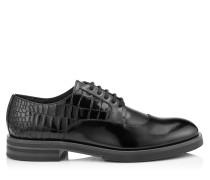 Bolan Schnürschuhe aus schwarzem gebürstetem Leder mit Krokodil-Print