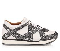 London Sneaker aus weißem und stahlfarbenem Kalbsleder mit Glitzerdetails