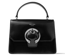 Madeline Satchel/s Handtasche aus schwarzem Spazzolato-Leder mit metallischer Schnalle