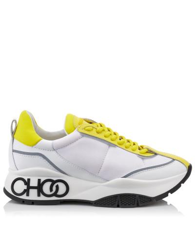 Raine Sneakers zum Schnüren aus Neopren-Kalbsleder in Pop Gelb und gummiertem Leder