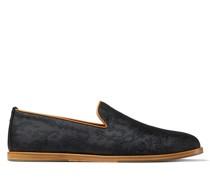 LAW Pantoffeln aus schwarzem bestickten Jacquard-Gewebe