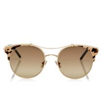 LUE Cat-Eye Sonnenbrille aus Metall in Rose Gold und Lederdetails mit Leoparden-Print