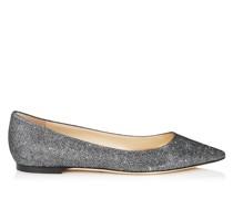 Romy Flat Spitze Schuhe aus anthrazitfarbenem Glitzer-Lamé