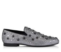 Sloane Mokassins aus grauem Glitzergewebe mit Sternen und Kristall