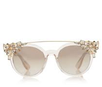 Vivy 20Th Sonnenbrille mit rundem nudefarbenem Gestell und abnehmbaren Schmuckeinsatz