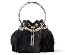 BON BON Handtasche aus schwarzem Samt mit Federn und Kristallstickerei