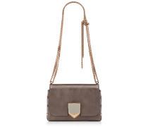 Lockett Petite Handtasche aus dunkelbraunem Spazzolato-Leder in Metallic-Optik