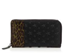Carnaby Reisebrieftasche aus schwarz genarbtem Leder mit Stern-Relief und Saffiano-Leder mit Leoparden-Print