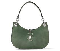 Varenne Hobo/s Handtasche aus Wildleder und Trageriemen aus glattem Kalbsleder in Kaktusgrün
