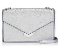 Leila Kleine Umhängetasche aus genarbtem Leder in Platin mit Metallic-Optik