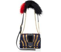 Lockett Petite Handtasche aus dunkelblauem Wildleder mit Glitzer und Fell