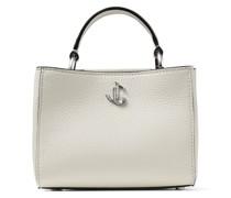 Varenne TOP Handle Mini Handtasche aus cremefarbenem genarbten Leder mit Tragegriff und silbernem JC-Emblem