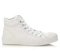 Berlin Flat Sneaker aus Leder und weißem Stoff