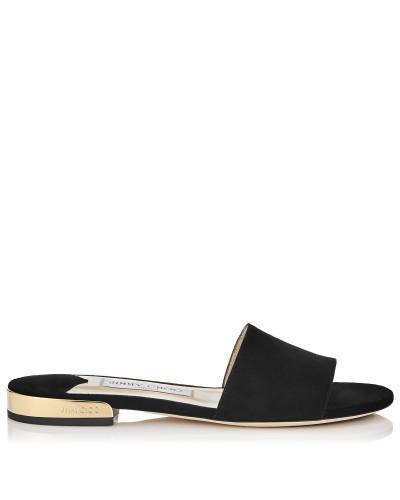 Joni Flat Sandalen aus schwarzem Wildleder