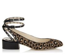 Daniela 30 Schuhe aus Leder mit Fell-Print und Leopardenmotiv