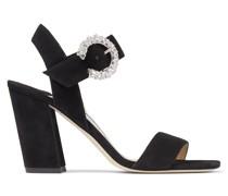 Maysa 85 Sandaletten aus schwarzem Wildleder mit Kristallschnalle