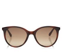 Erie Oversize Sonnenbrille in Havana-Braun mit Plexi Glitzerdetails