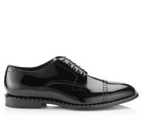 Penn Oxford-Schnürschuh aus schwarzem Lackleder mit stahlfarbenen Nietendetails