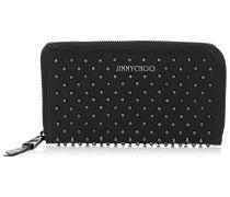 Carnaby Schwarze Reisebrieftasche aus Leder mit Rotgussnieten