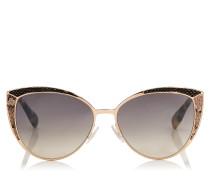 Domi Sonnenbrille mit Cat Eye Gestell und Schlangenlederdetails