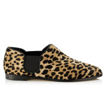 Glint Flat Flache Schuhe aus Leder mit Fell-Print und Leopardenmotiv