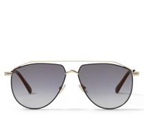 LEX Aviator Sonnenbrille in Rose Gold und Schwarz mit goldenen Spiegelgläsern mit grauer Tönung