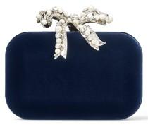 Cloud Clutch aus dunkelblauem Samt mit schleifenförmigem Verschluss mit Perlenverzierung