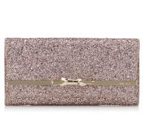Lydia Clutch aus rosanem Glitzergewebe in Metallic-Optik