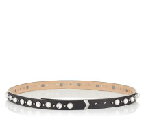 Britt/s Gürtel aus schwarzem Leder mit Perlen und Kristallverzierung