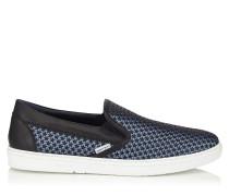 Grove Slip-On-Sneaker aus blauem Satin mit kleinen schwarzen Gummisternen