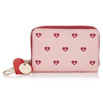 Tally Portemonnaie aus bedrucktem Leder in Kamelie mit roten Herzen