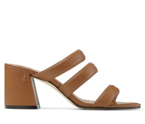 Auna 65 Sandaletten aus braunem Nappaleder mit Blockabsatz