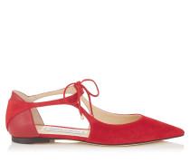 Vanessa Flat Spitze flache Schuhe aus rotem Wildleder und Nappaleder