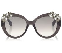 Megan Graue runde Oversize Sonnenbrille mit Juwelen