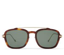 Kevin Eckige Sonnenbrille in dunklem Havana-Braun und Schildpatt mit grünen Gläsern
