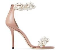 Maisel 100 Sandaletten aus Nappaleder in Ballettrosa mit Perlenverzierung