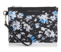 Derek Mini/id Clutch aus ozeanblauem Nylon mit Blumen-Print